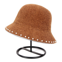 Wholesale vintage bucket hats women for sale - Group buy Fashion Autumn Pearl Bucket Hat Women Elegant Hats For Winter Dome vintage Felt fishing hat fisherman bucket cap