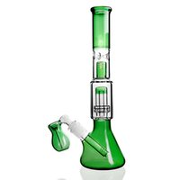 Wholesale beaker perc water pipe online - Green beaker with downstem bowl stereo matrix Cage perc bongs dab rig glass Water Pipe bong recycler oil rig bubbler hookah heady rigs
