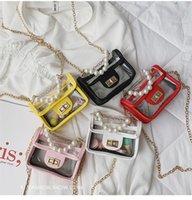 sacs à main fille perles achat en gros de-Enfants Mini Sac À Main PVC Transparent Sacs À Bandoulière pour Bébés Filles Princesse Perle Messenger Sac Lolita Enfants Bourse À Main Sac LE332