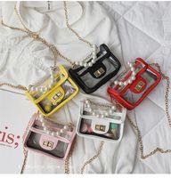 perlen mädchen handtaschen großhandel-Kinder Mini Handtasche PVC Transparent Crossbody Taschen für Babys Prinzessin Perle Umhängetasche Lolita Kinder Geldbörse Handtasche LE332