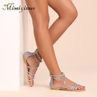 açık parmak sandal topuklu toptan satış-Kadınlar için dar bant düz sandalet kapak topuk geri fermuar kadın sandalet 2019 yaz bayanlar burnu açık ayakkabı perçin gümüş