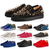 ingrosso nuova marca rossa è aumentata-Nuovo modo caldo di marca del progettista con borchie Spikes Flats Shoes Red Bottoms calzature di lusso del partito delle donne degli uomini amanti vera pelle scarpe da tennis Taglia 36-45