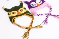 Wholesale owl earflap crochet hat baby resale online - HOT Toddler Owl Crochet Knit Woolly EarFlap Hat Baby Handmade crochet Hat childrens handmade owl Knitted hat Color For Choose