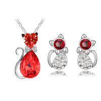 collar de araña de cristal al por mayor-6 Colores Crystal Kitty Collar Llamativo Pendientes Stud Set Araña Mujeres Gargantilla Conjuntos de Joyas de Boda Decoración de La Boda
