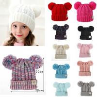 boina roja de las niñas al por mayor-12styles doble piel de bolas sombreros de los bebés casquillo del Knit Crochet Kid Pom Pom gorritas niños de punto al aire libre Caps Accesorios Niños regalo FFA2860