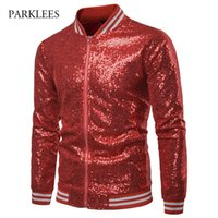 ingrosso uomini rossi del sequin giacca-Stage Perform Costume Jacket Uomo Coat Shiny Paillettes Red Glitter Baseball Mens Giacche Casual Hip Hop High Street Chaqueta Hombre