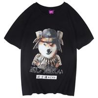 lustige hundet-shirts großhandel-2019 männer Hip Hop T-shirt Streetwear Japanische Krieger Hund T-Shirt Harajuku Sommer Tops T Kurzarm Japan Lustige T-shirt Baumwolle
