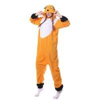 fox tier pyjamas groihandel-Winter Erwachsene Tier Orange Fox Kigurumi Onesies Party Warme Pyjamas Cartoon Kostüme Overalls Weihnachtsgeschenk Mit Kapuze