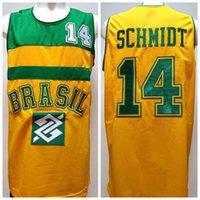 basketbol brazilu toptan satış-Oscar Schmidt # 14 Takım Brasil Brezilya Retro Basketbol Forması Erkek Dikişli Özel Herhangi Numara Adı Formalar