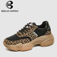 ingrosso scarpe da ginnastica in pelle-BONJOMARISA 2019 New Ins Hot marca Leopard Spit Sneakers in pelle da donna primavera signore papà scarpe casual da corsa donna scarpe donna