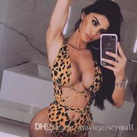 bikinis brasileños de una pieza al por mayor-Nuevo 2019 Bikini sexy Traje de baño Traje de baño Mujer Leopardo brasileño Estampado de serpiente Hueco Trajes de una sola pieza Traje de baño Ropa de playa Biquini