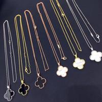18k goldblatt kettenhalskette großhandel-Europäischen und amerikanischen Schmuck Großhandel große vierblättrige Blume Doppelschicht Halskette
