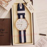relógio de marca prata venda por atacado-2018 famosa marca mulheres relógios de moda cinta de nylon estilo 36mm de prata de luxo senhora relógios com caixa de presente relojes relógios de Pulso