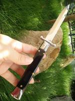 navajas de calidad al por mayor-Buena calidad lassical hoja de acero Benchmade 440C con cuchillo de mango de cuerno negro natural EDC Pocket Tactical Survival camping cuchillo