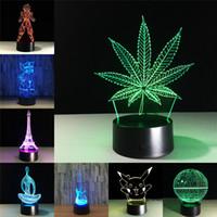 lámparas de mesa de luz táctil al por mayor-Maple Leaf 3D Ilusión visual Transparente Acrílico Luz nocturna Lámpara LED 7 Cambio de color Touch Table Lamp Niños Lava Lamp