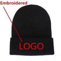 broche senhoras indianas venda por atacado-1 Pcs Personalizado Beanie Cap Bordado chapéu de malha chapéu de inverno das mulheres dos homens Beanie Hat Cap de inverno Unisex tampas do crânio atacado