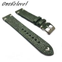 sangles c achat en gros de-Bracelet à la main fait à la main vert foncé Onthelevel Bracelet en cuir véritable avec motif de liche 18mm 20mm 22mm avec surpiqures blanches #C