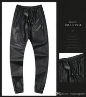 pantalon camouflage noir rouge achat en gros de-Pantalons skinny pantalons homme pu hiver camouflage rouge argent noir noir crayon sexy pantalon