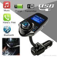 lila schnur telefone großhandel-T10 USB Autoladegerät Bluetooth Car Kit FM Transmitter 1,4-Zoll-Bildschirm Freisprech-MP3-Audio-Player VS BC09 BC08 BC06 X5 G7 T10 T11 Car Kit
