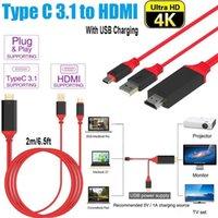 digitando video venda por atacado-USB 3.1 Tipo C para HDMI 2 m Cabo Adaptador Conversor Ultra HD 1080 P 4k Cabo de Vídeo HDTV de Carregamento para Samsung S10