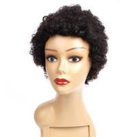 doğal renk brezilya kıvırcık saç toptan satış-Kısa Kıvırcık İnsan Saç Peruk 8 Inç Doğal Renk Kapaksız Peruk Brezilyalı Bakire Saç Ucuz Remy İnsan Saç Peruk 100 g / adet