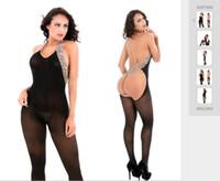 diversión de seda al por mayor-Nuevas damas de leopardo de comercio exterior europeas y americanas que cuelgan del cuello sexy jacquard divertido ropa interior unió medias de seda del partido
