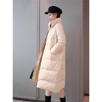 ingrosso cerniera coreana della giacca bianca-Solid 2019 New Thin Fashion coreano Piumino lungo Dolcevita invernale Piumino d'anatra bianco Cappotto con cerniera Parka caldo Snow Outwear f1367