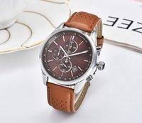relógio de trabalho venda por atacado-Todos os mostradores trabalham patrão homens de luxo relógios montre homme moda couro relógio de quartzo homens dress business masculino relógio reloj hombre