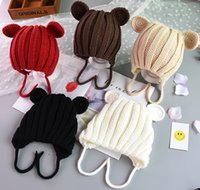 Wholesale crochet flap hat resale online - Fashion Child Baby Hat Winter Boys Warm Earflap Beanies Hats For Girls Knit Ribbed Handmade Ear Flaps Cap Skullies Solid Bonnet FFJ752
