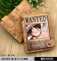 tarjetas de mono al por mayor-Animado de una pieza Monkey D. Luffy PU billetera de cuero corta de muchas capas titular de la tarjeta monedero