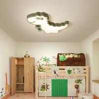 dormitorio de niñas luz de techo al por mayor-Luces de techo para niños Dormitorio Dibujos animados dinosaurio Niños Chicas Lámpara de techo Verde Blanco Moderno LED Lámpara de luces de techo para niños