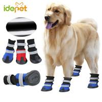 große hundeschuhe großhandel-Frühling Outdoor Große Hundeschuhe Anti Slip Big Dog Stiefel für Mittelgroße Hunde Golden Retriever Reflektierende Warme Haustier Schuhe 1by30
