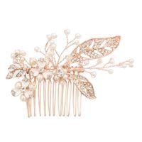 horquillas de oro rosa al por mayor-Lujo perlas de cristal peinados para el cabello tocado de baile de bodas nupcial accesorio para el cabello de oro rosa hoja de plata flor joyería pernos