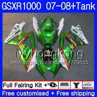 tanques suzuki al por mayor-Kit + tanque para SUZUKI GSX R1000 GSXR-1000 GSXR 1000 2007 2008 301HM.46 GSX-R1000 07 08 Cuerpo K7 GSXR1000 07 08 Carenado caliente verde brillante 7Gifts