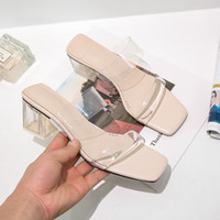 gelee offene zehe großhandel-Großhandel Transparente Gelee Frauen Hausschuhe Sommer Offene Zehen Schuhe Mode Frau Rutschen Quadratische Absätze Sandalen Maultier Schuhe Zapatos De Muje
