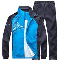 Wholesale warm maternity clothes resale online - Spring Autumn Running set Men Sport Sportswear Piece Sport Suit Jacket Pant Sweatsuit Men Warm Clothing Tracksuit Set