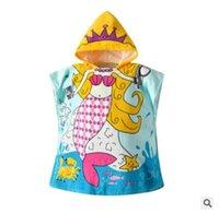 kapüşonlu pamuklu cüppe çocuklar toptan satış-Plaj Havlusu Karikatür Denizkızı Çocuk Elbiseler Kızlar Sıcak Pamuk Bornoz Hayvan Kapşonlu Banyo Bornozlar Bebek Kız Bornoz Beachwear