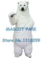 mascotes de urso adulto venda por atacado-Urso polar realista mascote traje tamanho adulto de pele de alta qualidade branco urso polar tema anime cosply trajes carnaval 2969