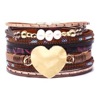 Wholesale velvet wrap bracelet for sale - Group buy Beads Heart Crystal Wrap Bracelet Multilayer Velvet Leather Diamond Bracelets wristband bangle band cuff for Women Jewelry drop ship
