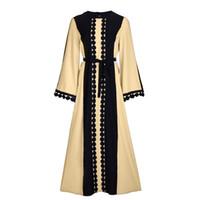 müslüman uzun kollu maxi elbise toptan satış-Kadınlar Kaftan Abaya Müslüman İslam Kokteyl Uzun Kollu Jilbab Maxi Elbise Yeni