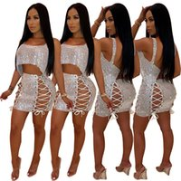 5f8df7e81d20 Women Sequins Two Piece Set Dress Spaghetti Straps Irregular Loose Crop Top  + Grommet Lace Up Bodycon Mini Skirt Outfits. 10% Off