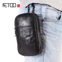 Wholesale crocodile oil resale online - AETOO Oil wax leather men s leather inch inch mobile phone pockets multi function mini bag cowhide wear belt waist bag