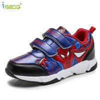 ayakkabı düğmeleri toptan satış-Çocuk Boys Spiderman Sneakers, çocuklar Karikatür Spor Ayakkabı Erkek Pu Rahat Çizmeler Kauçuk Düğme Spor Ayakkabı Eur 26-37 Y190525