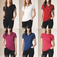 polos rosas al por mayor-Nuevo estilo británico de verano de las mujeres de manga corta 100% algodón camisetas moda Casual Ladies Girls alta calidad Polos camisas negro rosa S-XXL