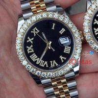 relojes de pulsera de hielo al por mayor-Luxury Gold President Inoxidable Iced Out Diamond Bezel Designer Mens Reloj automático Fecha Día Relojes de pulsera Relojes