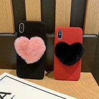 housse d'hiver iphone achat en gros de-TPU en forme de coeur de fourrure de lapin de luxe pour iphone 6s 6plus 7 8plus x cas XS XR XS Max hiver chaud doux couverture