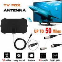 mini dvb t tv digital venda por atacado-50 Milhas 1080 P Indoor TV Digital HDTV Antena Raio de Surf TV Antenas de Raposa Receptor Amplificador Mini DVB-T / T2 Antena UHF VHF