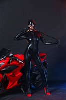 sexy schwarze super helden kostüm großhandel-Neuer Stil schwarze PVC-Kunstleder Latex Wet Look, figurbetonter Overall NachtProwler Sexy Catwoman Catsuit Halloween Cosplay Superheld-Kostüm