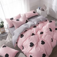 Wholesale heart bedding king size for sale - Duvets and Bedding Sets Lovely Bedding Grey Bed Sheet Cotton King Size Bedding Set Queen Size Duvet Cover Set Heart Bed Set Pink