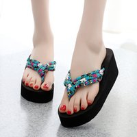 Wholesale ivory platform wedges for sale - Group buy 2019 New Hot Summer Women Flip Flops Slippers High Heel Platform Wedge Thick Beach Casual Thong Sandals Shoes MSK66